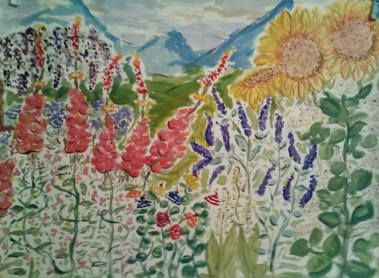 First Mountain Garden by Susan Royer - search and link Fine Art with ARTdefs.com