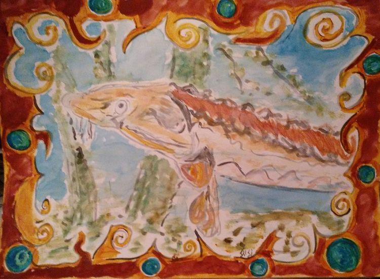 Hide and Seek James River Sturgeon by Susan Royer - search and link Fine Art with ARTdefs.com