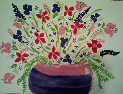 Purple and Pink Bowl Vase by Susan Royer - search and link Fine Art with ARTdefs.com