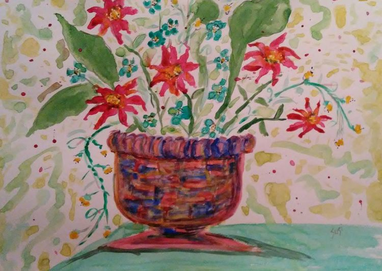 Wild and Watery Vase by Susan Royer - search and link Fine Art with ARTdefs.com