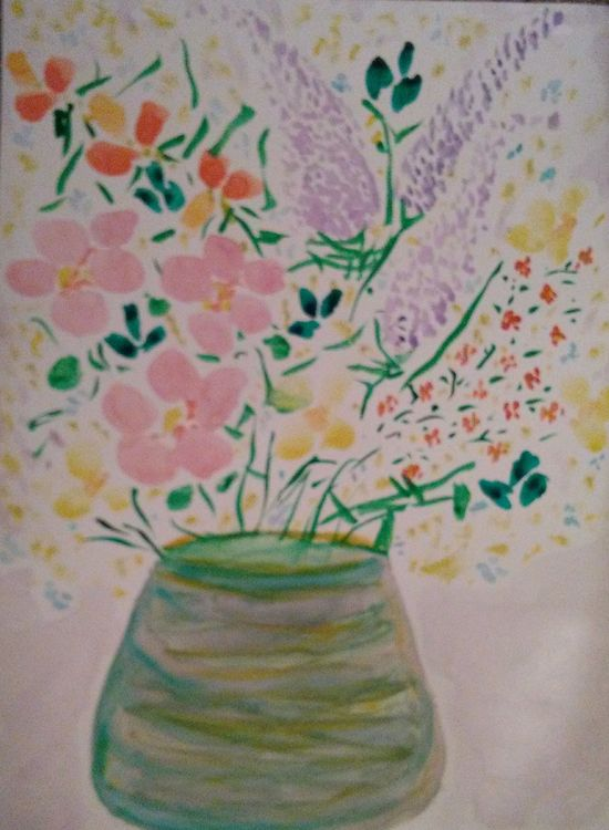 Light Green and Yellow Vase by Susan Royer - search and link Fine Art with ARTdefs.com