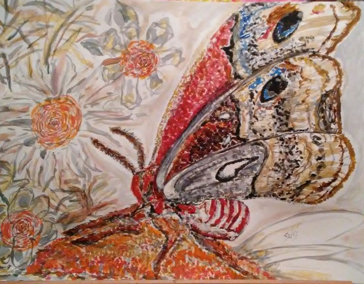 Moth Mealtime by Susan Royer - search and link Fine Art with ARTdefs.com