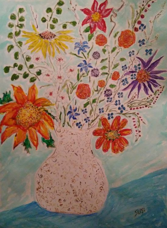 Everbloom in an Aqua Room Vase by Susan Royer - search and link Fine Art with ARTdefs.com