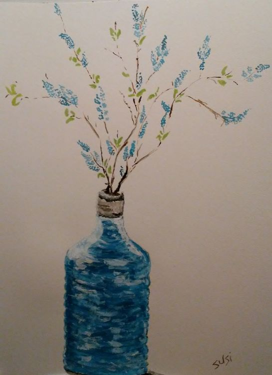 Blue Bottle Vase by Susan Royer - search and link Fine Art with ARTdefs.com