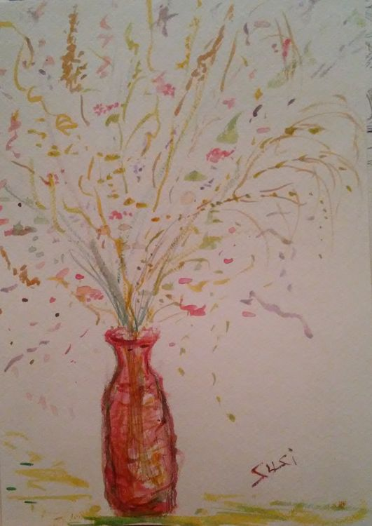 Red Bottle Vase by Susan Royer - search and link Fine Art with ARTdefs.com