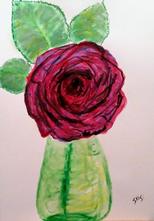 Big Rose in Little Bud Vase by Susan Royer - search and link Fine Art with ARTdefs.com