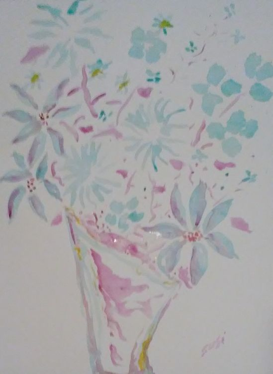 Magenta and Turquoise Vase by Susan Royer - search and link Fine Art with ARTdefs.com