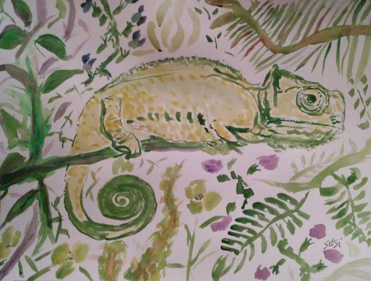 Clinging Chameleon by Susan Royer - search and link Fine Art with ARTdefs.com
