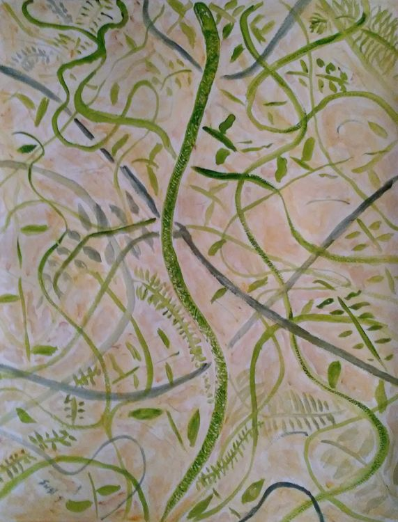 Camo Green Snake by Susan Royer - search and link Fine Art with ARTdefs.com