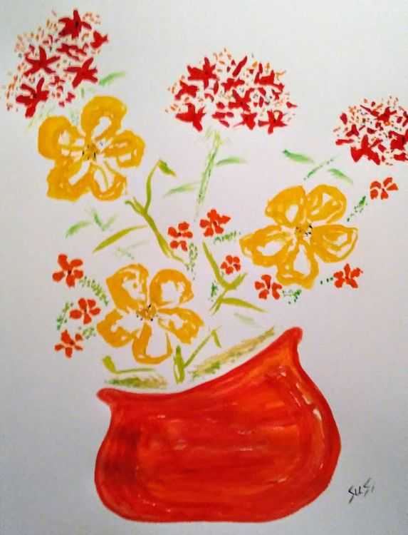 Red Round Planter by Susan Royer - search and link Fine Art with ARTdefs.com