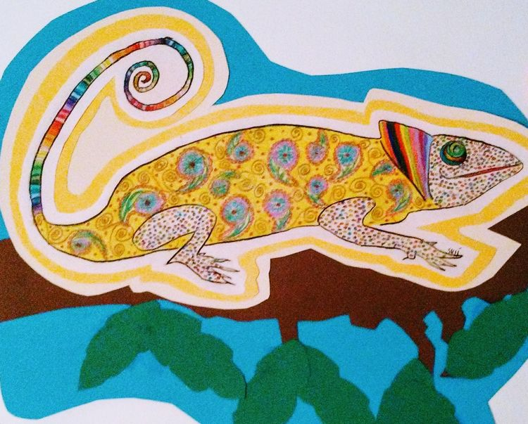 Happy Chameleon by Susan Royer - search and link Fine Art with ARTdefs.com