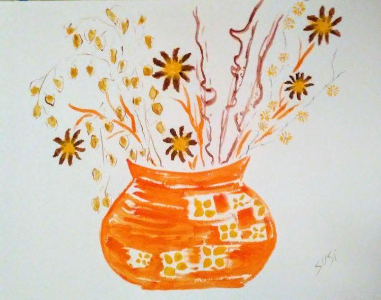 Orange You Glad Vase by Susan Royer - search and link Fine Art with ARTdefs.com