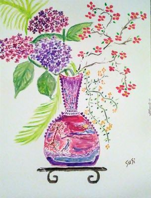 Crane Vase by Susan Royer - search and link Fine Art with ARTdefs.com