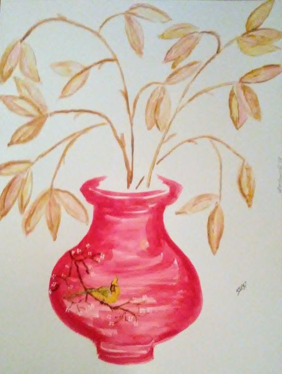 Yellow Cardinal Vase by Susan Royer - search and link Fine Art with ARTdefs.com