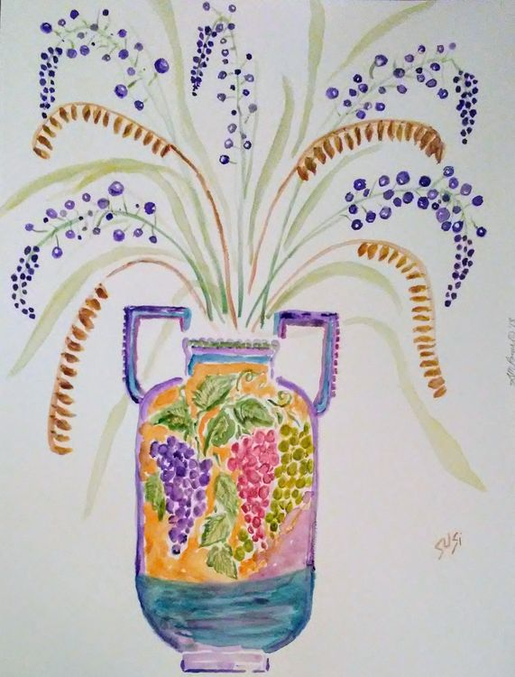 Grapes Vase by Susan Royer - search and link Fine Art with ARTdefs.com