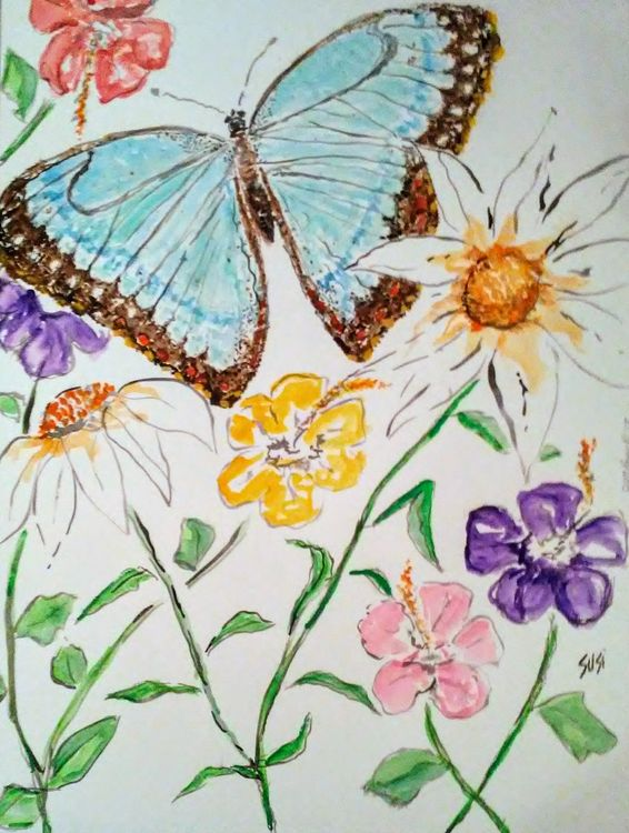 Morpho Brazilian Blue Butterfly by Susan Royer - search and link Fine Art with ARTdefs.com